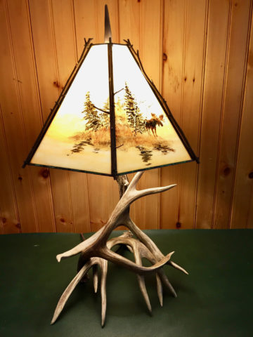 Real Deer Antler Table Lamp with Custom Stained Glass Shade