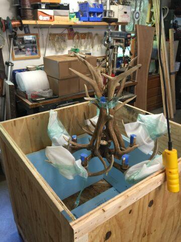 packing antler chandelier